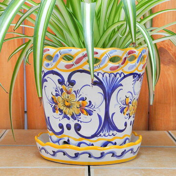 ポルトガル製陶器のプランター 植木鉢 穴あき 鉢カバー PFA-595Y