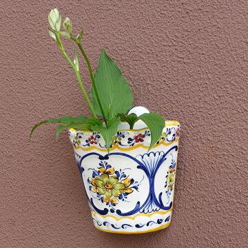 ポルトガル製陶器のウォールポット 壁掛け用植木鉢 穴あき 鉢カバー PFA-574Y