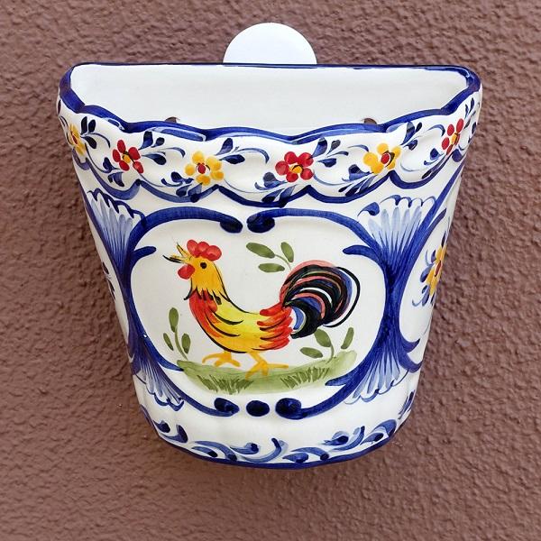 ポルトガル製陶器のウォールポット 植木鉢 穴あき 鉢カバー 574C