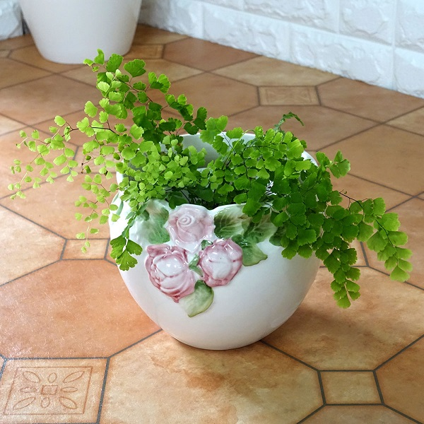 ポルトガル製陶器のプランター 植木鉢 穴あき 鉢カバー 白 ホワイト H502P