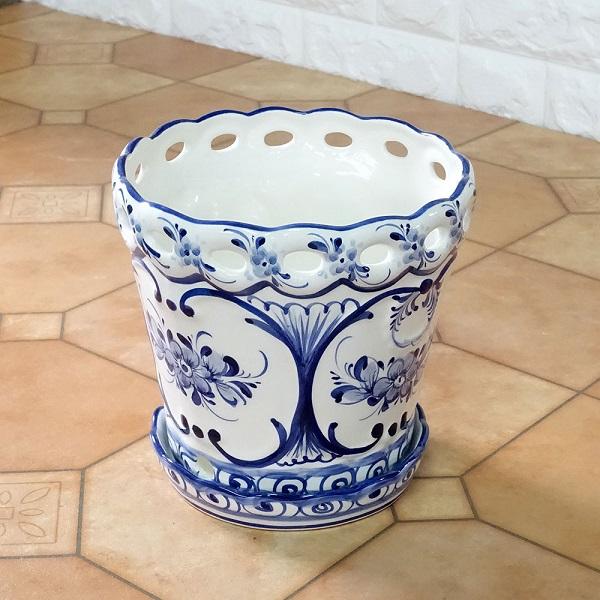 ポルトガル製陶器のプランター 植木鉢 穴あき 鉢カバー ポルトガル製陶器のプランター 植木鉢 穴あき 鉢カバー 594W