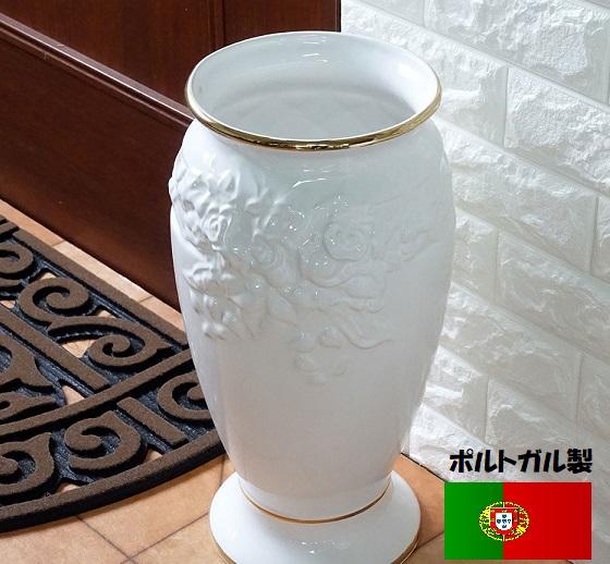 ポルトガル製、陶器の傘立 白 ホワイト ローズレリーフ バラ 薔薇 7009GL