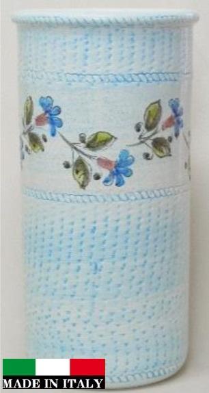イタリア製傘立て  青 ブルー 水色 花柄 素敵 962286