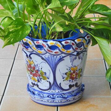 ポルトガル製陶器のプランター 植木鉢 穴あき 鉢カバー PFA-595BL