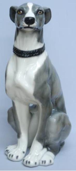 犬の置物 グレーハウンド 陶器 イタリア製 インテリア ガーデン 置物 オブジェ-74GR