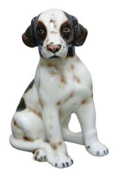 犬の置物 ポインター 陶器 イタリア製 インテリア ガーデン 置物 オブジェ-68PO