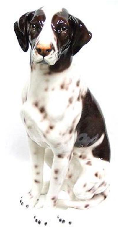 犬の置物 ポインター 陶器 イタリア製 インテリア ガーデン 置物 オブジェ-109PO