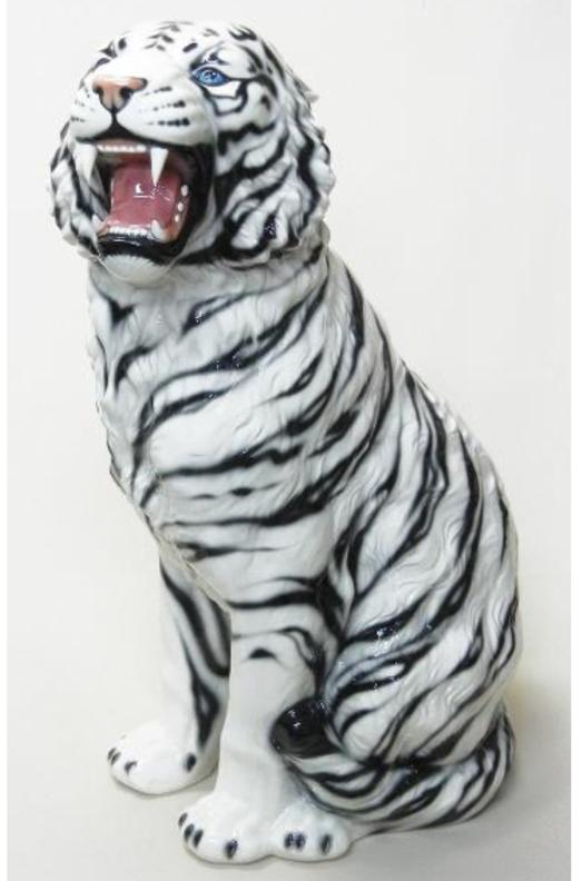 豪華な動物の置物 トラ タイガー ホワイトタイガー 白 陶器 イタリア製 インテリア ガーデン 置物 オブジェ--102WSD