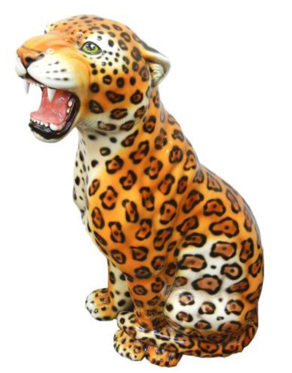 豪華な動物の置物 ジャガー  陶器 イタリア製 インテリア ガーデン 置物 オブジェ--103G