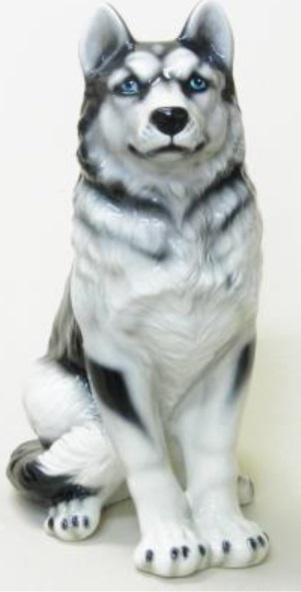 豪華な動物の置物 シベリアンハスキー陶器 イタリア製 インテリア ガーデン 置物 オブジェ--75H