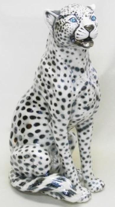 動物の置物  白 ホワイト レオパード ヒョウ イタリア製 陶器  104SPL