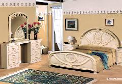 イタリア/サルタレッリ社製 フローレンス ベッド、 クイーンサイズ アイボリー (送料ランクプラス組み立て費)