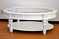 ホワイト家具のロココ調リビングテーブル875  20%off