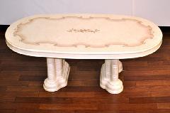 イタリア/リビングテーブル ホワイト家具、アイボリー色、鏡面仕上げVN84