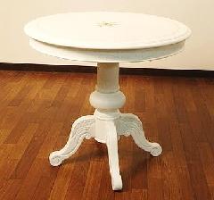 アウトレット ダイニングテーブル DT-188 白家具 丸テーブル