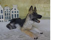 イタリア製犬のシェパード置物 プチアニマル犬