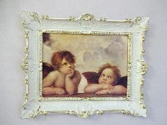 イタリアの天使の絵 アイボリー色の額絵