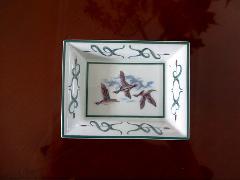 イタリア製 陶器のトレー 絵皿、3羽