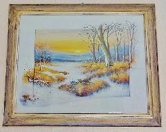 イタリアの風景画 額 絵  絵画 Q8276