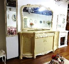 処分特価  イタリア 輸入家具  サイドボードミラーセット  鏡面仕上げ アイボリー