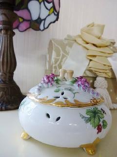 ブドウのポプリポット 陶器 小物入れ 輸入雑貨
