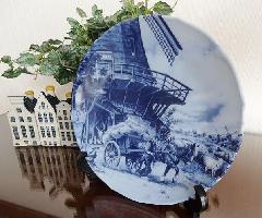 絵皿 飾り皿 壁掛け アンティーク 陶器 オランダ製 インテリアプレート 雑貨 小物 輸入雑貨 BZ-7