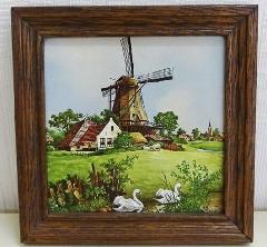 オランダ製風車の壁掛け額絵 BZ-1