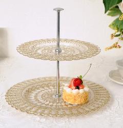 おしゃれな2段トレー ガラスコンポート ケーキ皿 ゴールドのお皿