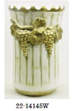イタリア製陶器の傘立て 白 2214145W