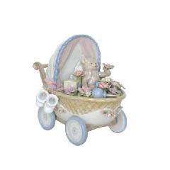 オルゴール 陶器 リアドロ風 乳母車 出産祝い 贈り物 プレゼント  81812