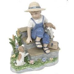 陶器 リアドロ風 置物 男の子 プレゼント 贈り物 お祝い 贈答品用 アンティーク リアドロ風 81867