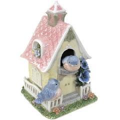 オルゴール 陶器 家 ホーム 小鳥 リアドロ風 青い小鳥のお家 81871