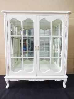 2ドア飾り棚 キャビネット 食器棚 白家具 ロココ調  ミラー付き 132W