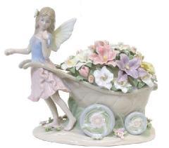 陶器 リアドロ風 置物 フェアリー 妖精 プレゼント 贈り物 お祝い 贈答品用 アンティーク リアドロ風 81854