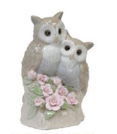 オルゴール 陶器 リアドロ風 フクロウ 結婚お祝い 贈り物 プレゼント 81864