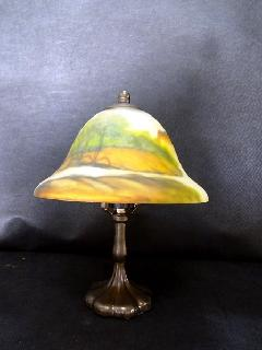 ランプ ミニランプ 照明 卓上ミラー 風景画 山水模様 トールペイント 033B