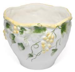 ポルトガル製陶器のプランター 植木鉢 穴あけ 鉢カバー 白 ホワイト 黄色 イエロー 葡萄 おしゃれ8700A-Y