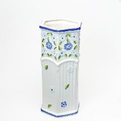 ポルトガル製、陶器の傘立 白 ホワイト ブルー 花 200BL