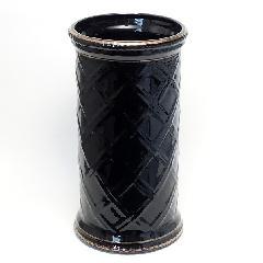 陶器の傘立て  チェッカー・ブラック&ゴールド