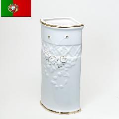 ポルトガル製、陶器の傘立て コーナー傘立て 白 ホワイト 7009A-GL