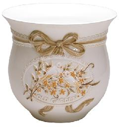 ポルトガル製陶器のプランター 植木鉢 穴あけ 鉢カバー 白 ホワイト ゴールド PSU-H9900G