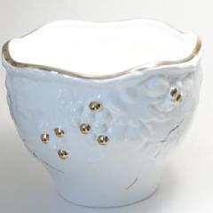 ポルトガル製陶器のプランター 植木鉢 穴あけ 鉢カバー 白 ホワイト 葡萄 おしゃれ8700A-GL