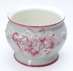 ポルトガル製陶器のプランター 鉢カバー 植木鉢 白 ホワイト ピンクバラ 薔薇 H7002-2P