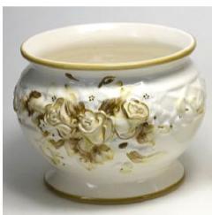 ポルトガル製陶器のプランター 植木鉢 穴あき 鉢カバー 白 ホワイト H7002−2G