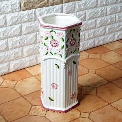 ポルトガル製、陶器の傘立 白 ホワイト ピンク 花 200P