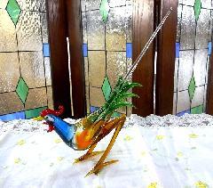ガラス細工 鶏の置物 インテリア  A-1