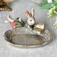 ウサギのトレイ、小物、アクセサリー入れ  バロックブックラビットミニトレイ632A