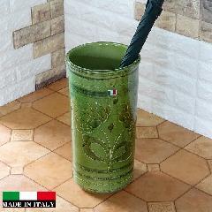 イタリア製傘立て  素焼き テラコッタ 陶器 傘立て ジオメトリー グリーン おしゃれ レインラック96-45G