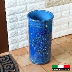 イタリア製傘立て  素焼き テラコッタ 陶器 傘立て ジオメトリー モザイク  ブルー  おしゃれ レインラック96-45BL