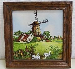 壁掛け オランダ製額絵 風車アンティーク レトロ BZ-8